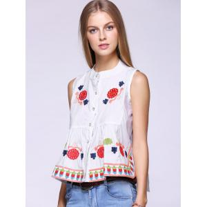 Trendy Flowers Embroidered Buttoned Tank Top -