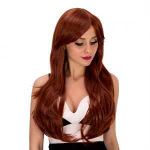 Ladylike Long Wavy Middle Part Auburn Brown Women's Synthetic Hair Wig - AUBURN BROWN