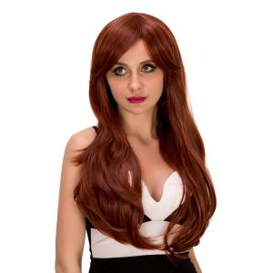 Ladylike Long Wavy Middle Part Auburn Brown Women's Synthetic Hair Wig -