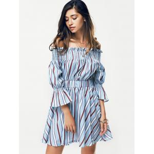 Casual Ruffle Stripe Off The Shoulder Dress -