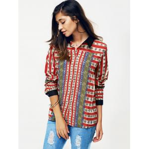 Striped Color Block Chain Imprimer Shirt - Rouge L