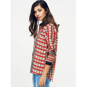 Striped Color Block Chain Imprimer Shirt -