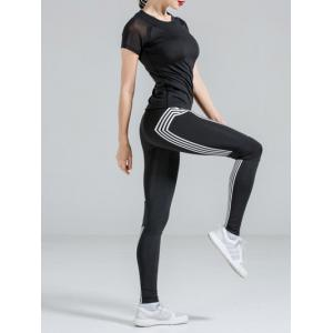 Active Black T-Shirt + High Stretchy Color Block Pants Women's Yoga Suit -