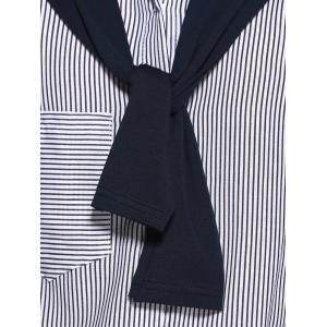 Pinstriped Scarf Design Shirt Dress -