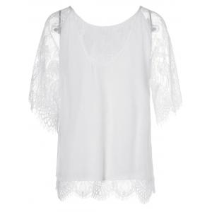 Elegant Round Neck Short Sleeves Splice Lace T-Shirt For Women - WHITE XL