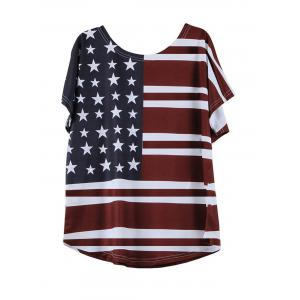 Casual Short Sleeve Round Neck Flag Pattern T-Shirt - WINE RED L
