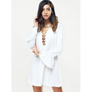 Metal Plunging Neck Flare Sleeve Women's Dress -