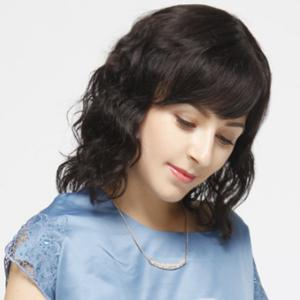 Ladylike Medium Side Bang Capless Fluffy Curly Real Human Hair Wig For Women -