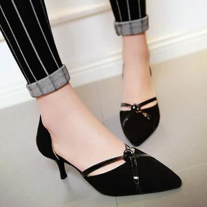 Graceful Two-Piece and Suede Design Pumps For Women - BLACK 38