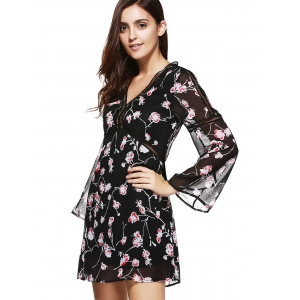 V Neck Floral Print Chiffon Dress -