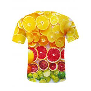 Fashion Round Neck Orange Pattern Fitted Short Sleeves 3D Printed T-Shirt For Men - COLORMIX 2XL