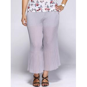 Plus Size High Waisted Pleated Chiffon Palazzo Pants - GRAY 3XL