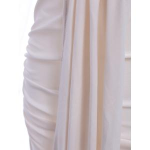 Elegant Plunging Neck 1/2 Sleeve Spliced Solid Color Draped Women's Prom Dress -