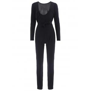 Sexy Self-Tie Design Long Sleeve Plunging Neck Women's Jumpsuit - Black - L