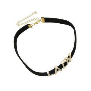 Adjustable Carving LADY Chokers Necklace - BLACK