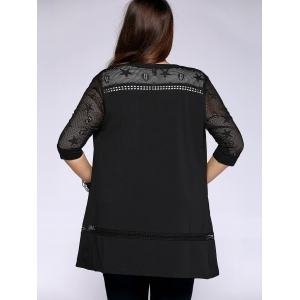 Trendy Plus Size Star Pattern Hollow Out Women's Cardigan -