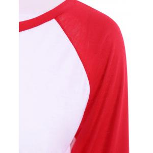 Casual Round Collar Long Sleeve Letter and Arrows Print Color Block Women's T-Shirt -