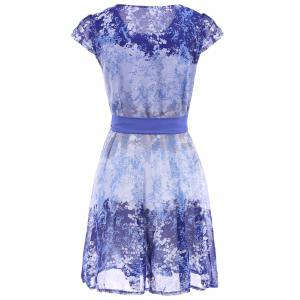 Ladylike Scoop Neck Tiny Floral Print Short Sleeve Dress For Women -