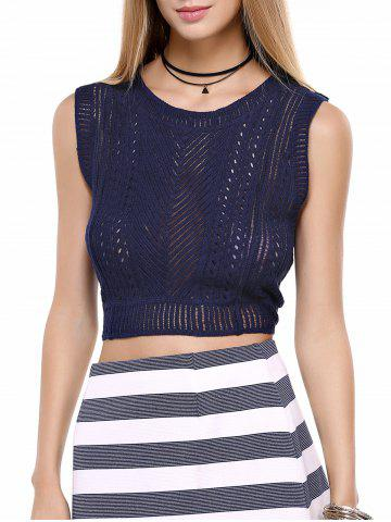 Sleeveless Openwork Pure Color Top - DEEP BLUE ONE SIZE(FIT SIZE XS TO M)