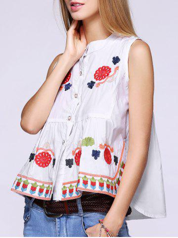 Latest Trendy Flowers Embroidered Buttoned Tank Top