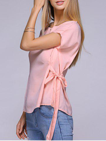 Sale Dolman Sleeve Side Bowknot Tie Blouse