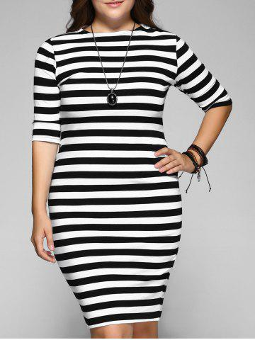 Outfit Plus Size Midi Bodycon Casual Striped Dress