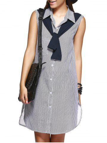 Shops Pinstriped Scarf Design Shirt Dress