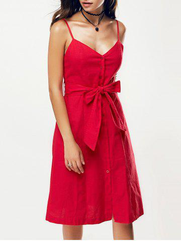 Low Cut Front Button Belted Cami Dress