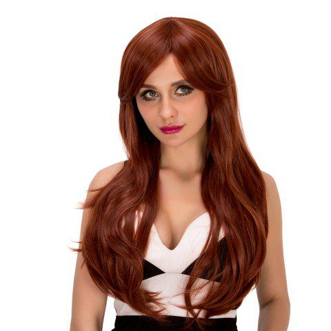Best Ladylike Long Wavy Middle Part Auburn Brown Women's Synthetic Hair Wig AUBURN BROWN