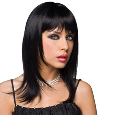 Straight Full Bang Capless Medium Layered Human Hair Wig