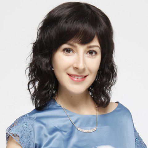 Sale Ladylike Medium Side Bang Capless Fluffy Curly Real Human Hair Wig For Women