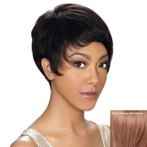 Hot Dynamic Short Pixie Cut Capless Straight Human Hair Wig For Women