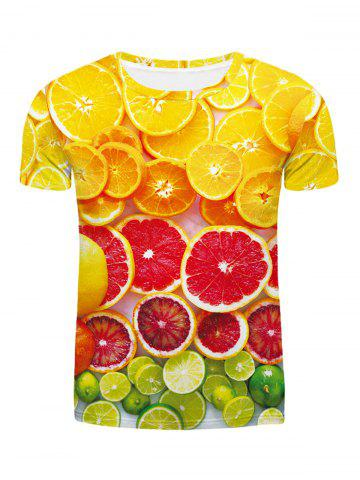 Fashion Round Neck Orange Pattern Fitted Short Sleeves 3D Printed T-Shirt For Men - Colormix - M