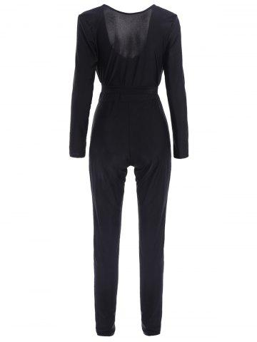 Fancy Sexy Self-Tie Design Long Sleeve Plunging Neck Women's Jumpsuit - L BLACK Mobile