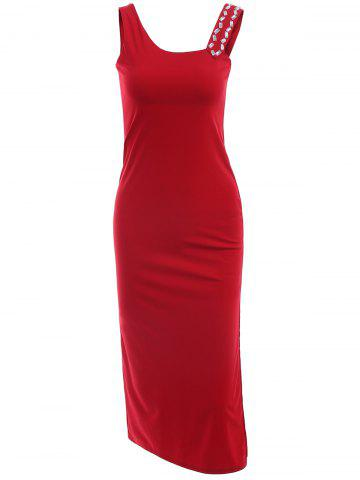 New Rhinestoned Slit Bodycon Prom Party Dress WINE RED ONE SIZE(FIT SIZE XS TO M)
