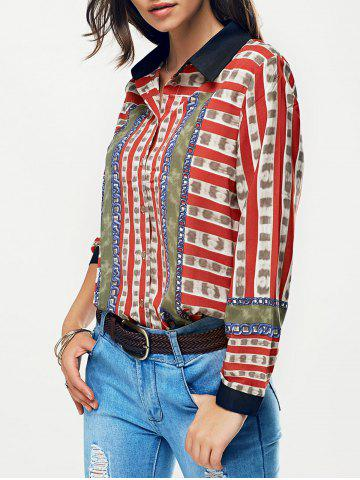 Striped Color Block Chain Imprimer Shirt Rouge L
