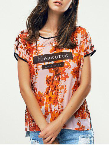Floral Print High Low Ringer T-Shirt - Jacinth - S