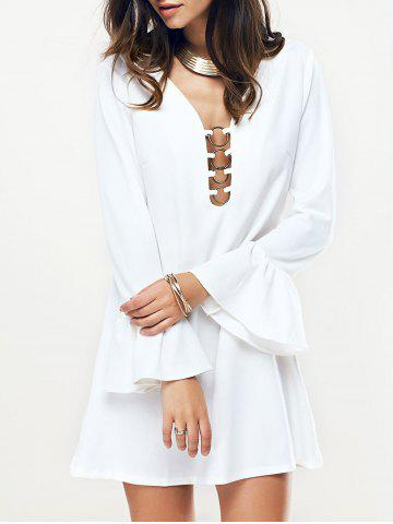 Affordable Metal Plunging Neck Flare Sleeve Women's Dress