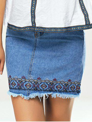 Shop Ethnic Women's Embroidered Denim Skirt