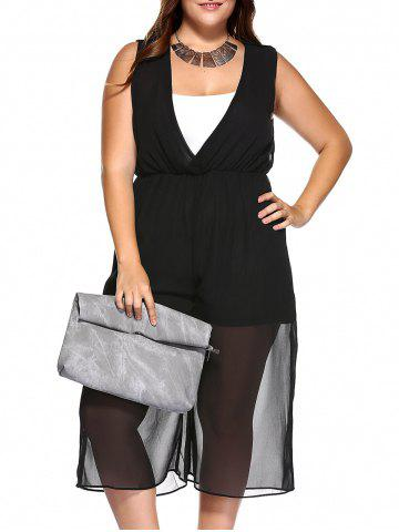 Affordable V Neck Wide Leg Plus Size Jumpsuit with Camisole