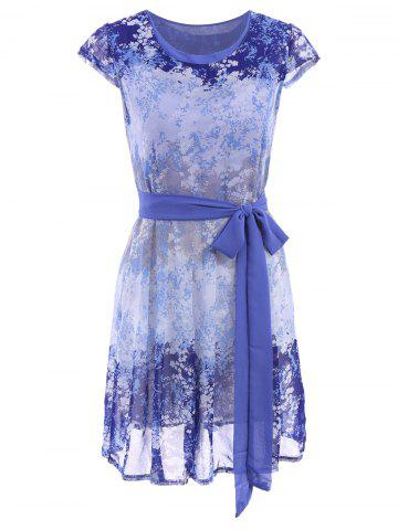 Outfit Ladylike Scoop Neck Tiny Floral Print Short Sleeve Dress For Women