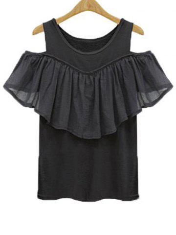 Fashion Charming Scoop Neck Flounce Spliced Solid Color Women's T-Shirt