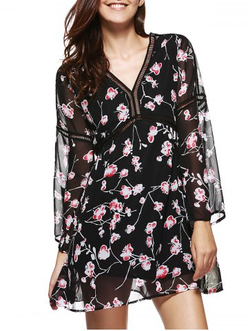Buy V Neck Floral Print Chiffon Dress