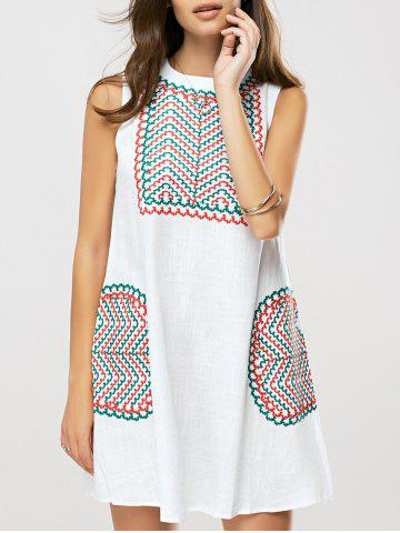 Fancy Ethnic Style Embroidered Shift Dress