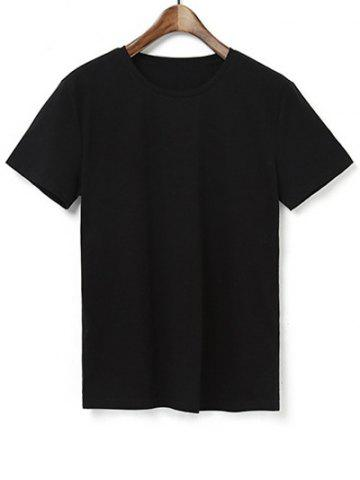 Brief Style Pure Color Round Neck Short Sleeve T-Shirt For Men - Black - L