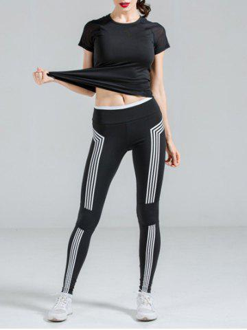 Latest Active Black T-Shirt + High Stretchy Color Block Pants Women's Yoga Suit