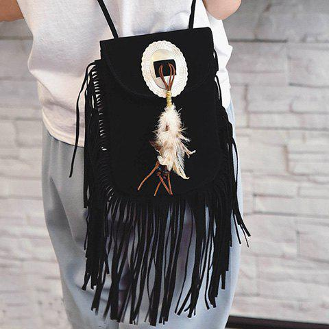 Shop Fashionable Magnetic Closure and Feather Design Crossbody Bag For Women - BLACK  Mobile