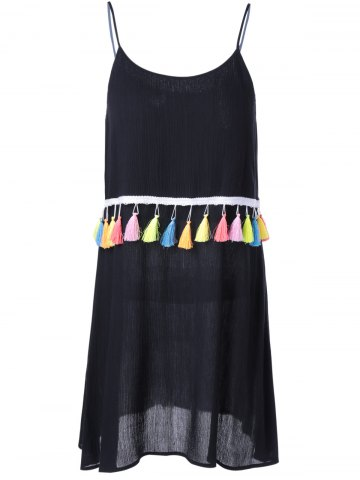 Buy Casual U-Neck Spaghetti Strp Solid Color Fringe Dress - XL BLACK Mobile