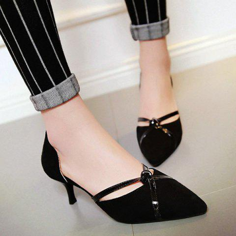 Latest Graceful Two-Piece and Suede Design Pumps For Women - BLACK 38 Mobile