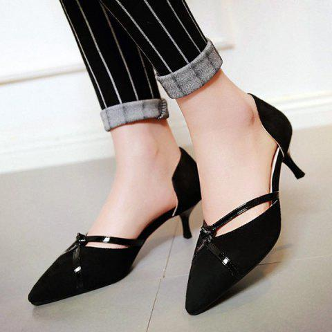Affordable Graceful Two-Piece and Suede Design Pumps For Women - BLACK 38 Mobile